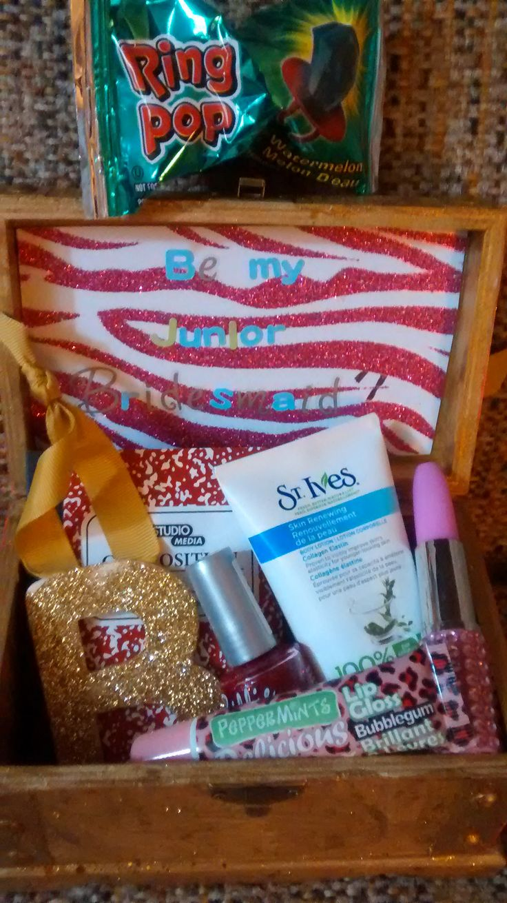 will u be my jr bridesmaid gift box i made with diy glitter letter