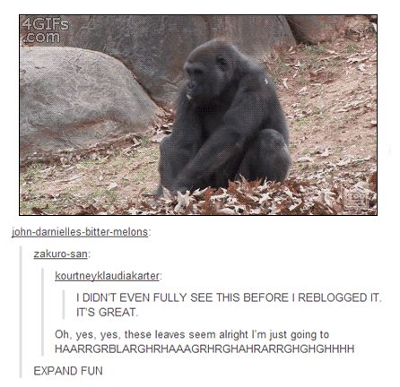 LOL! This just is too funny...he was feeling the leaves and I guess  they felt nice and he just went away like gorilla tornado!