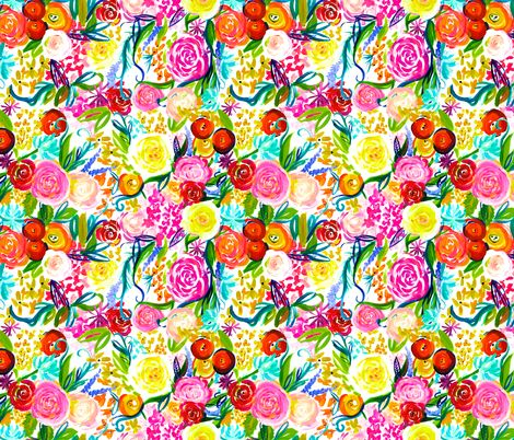 Bright Summer Neon Floral Bouquet  fabric by theartwerks on Spoonflower - custom fabric
