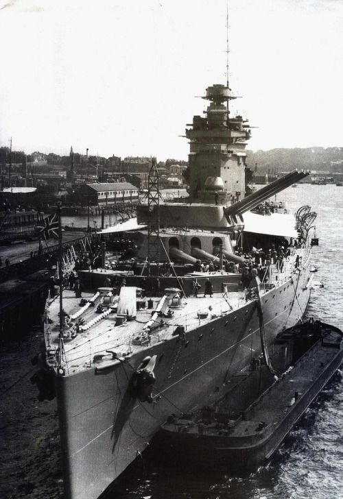 16 in battleship HMS Rodney, 1937 - together with sister Nelson, the Royal Navy's first capital ships of the post-dreadnought era.