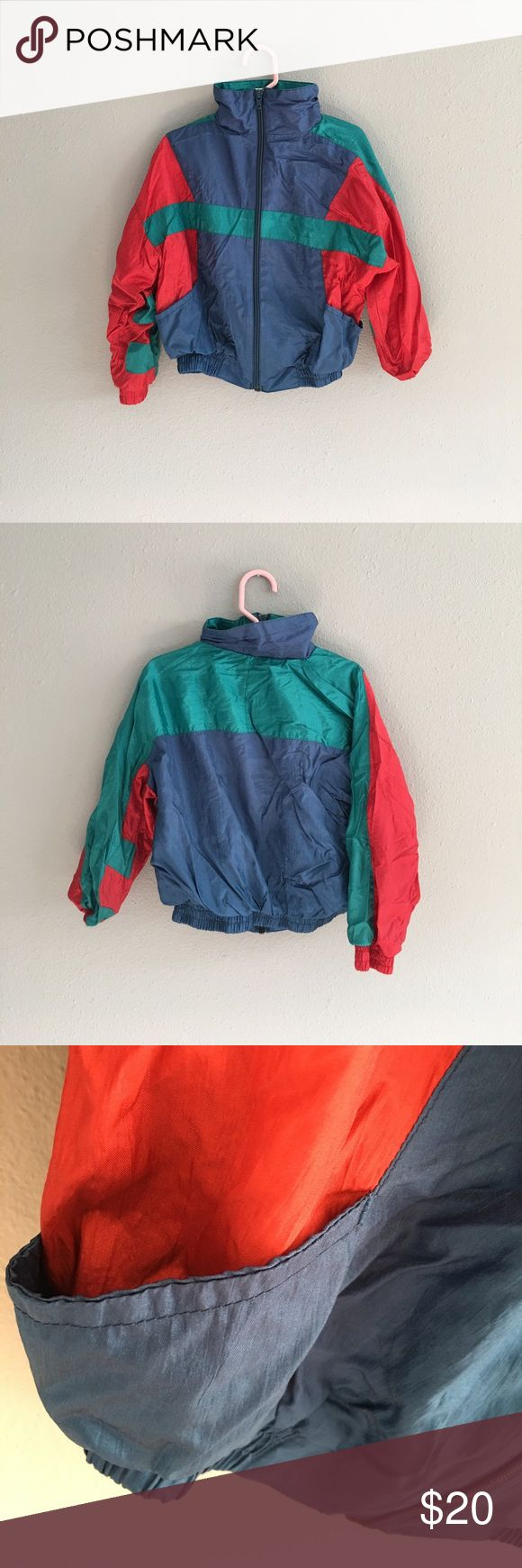 Kids Vintage Blue Green Red Windbreaker Jacket Kids Vintage Blue Green Red Windbreaker Jacket. Size 5. Could fit a 4 as well. In great condition! Vintage Jackets & Coats