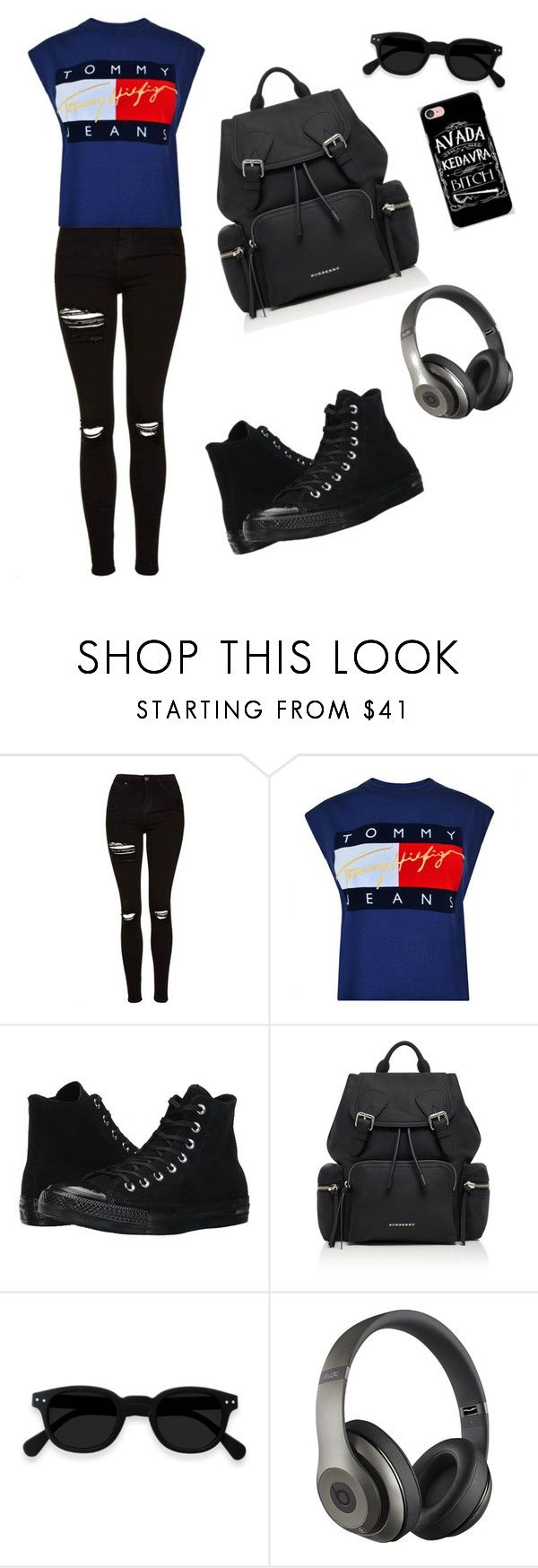 """""""Traveling😊😊"""" by esii-li ❤ liked on Polyvore featuring Topshop, Tommy Hilfiger, Converse, Burberry, Beats by Dr. Dre and Samsung"""
