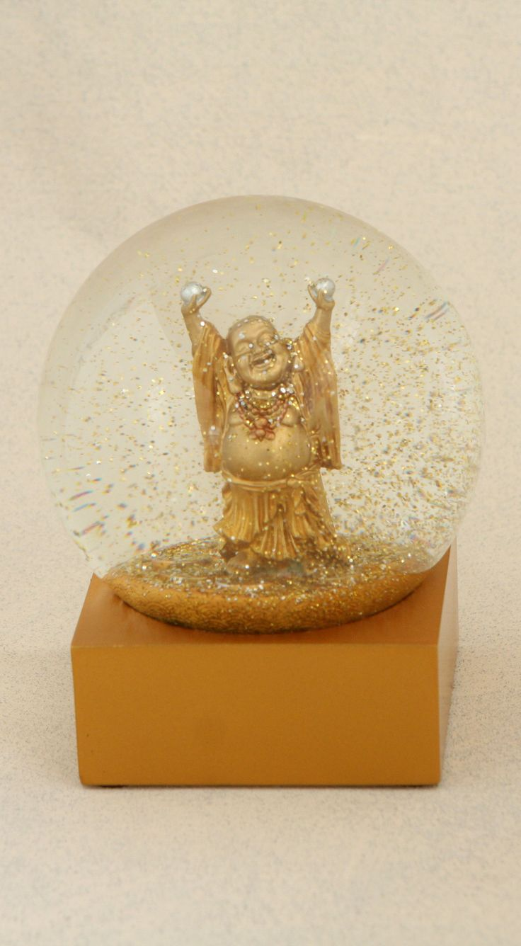 Happy Buddha Golden Snow Globe