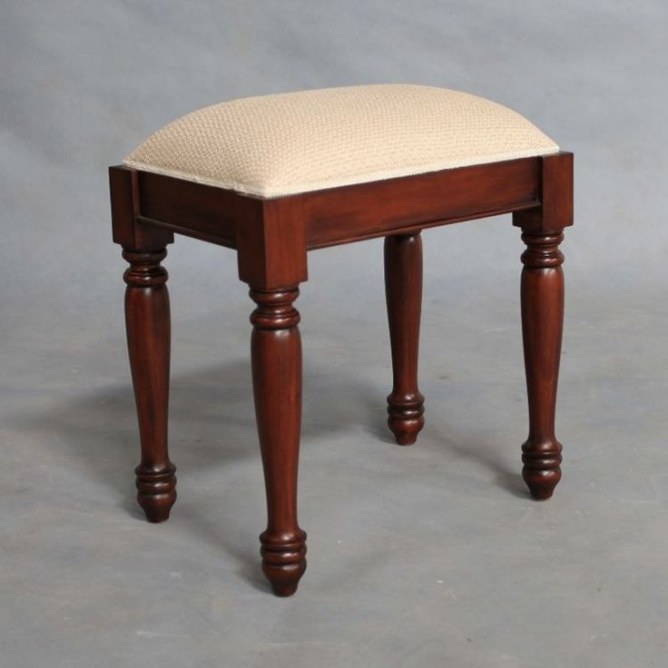 Solid Mahogany Wood Bedroom Stool with Beige Fabric - Antique Reproduction Design