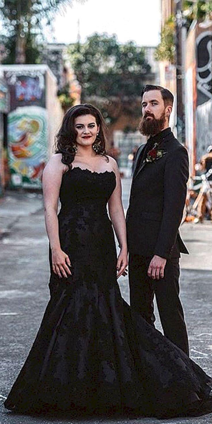 69 Adorable Black Halloween Wedding Dress Ideas