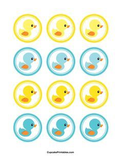 Duck cupcake toppers. Use the circles for cupcakes, party favor tags, and more. Free printable PDF download at http://cupcakeprintables.com/toppers/duck-cupcake-toppers/