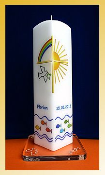 Christening candle square candle rainbow sun cross baptism