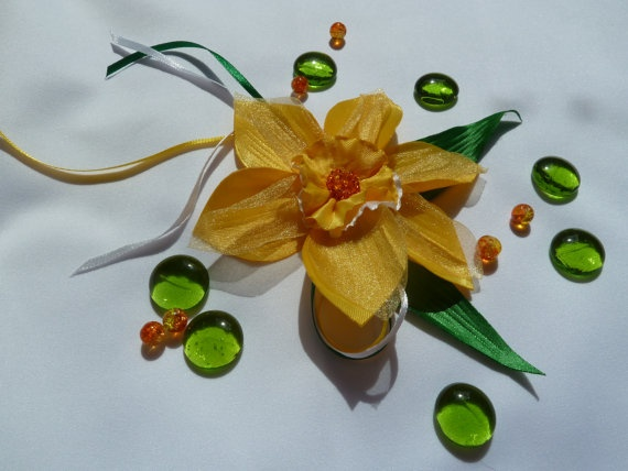 Yellow narcissus fabric  flower  brooch and by JeannasSecretGarden, $25.00