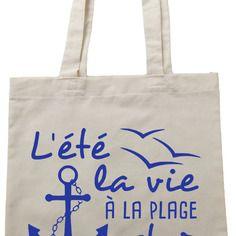 """Tote bag , sac de cours noir """"tellement mieux à la plage"""""""
