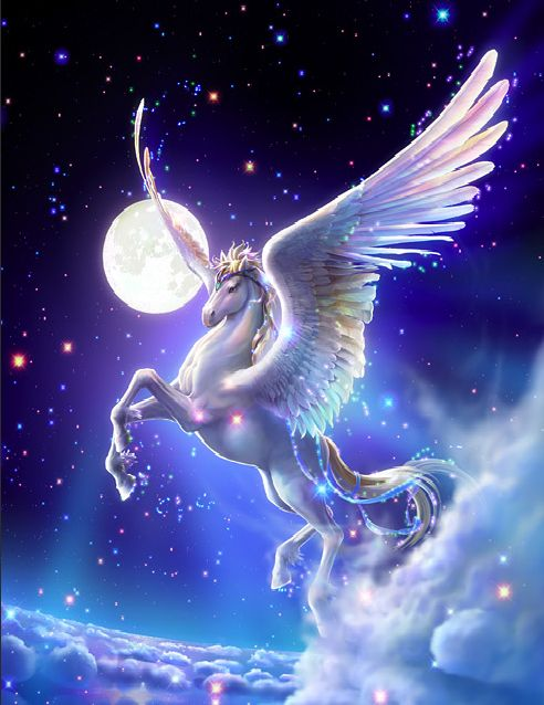 Pegasus - Wings for Freedom. When he gallops on the ground, his hoof tracks will become a fountain of artistic inspiration. When he flies in the sky, a rider on his back will be able to reach Heaven. A creature of intellect with strong white wings, born in the sea, is free to travel on the ground and in the sky like a swift wind, like a holy light.