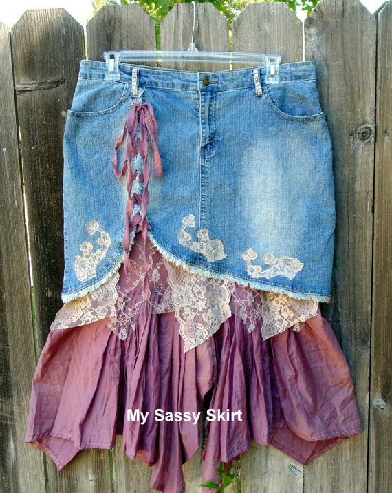 Upcycled denim skirt plus size 17/18 by MySassySkirt on Etsy, $35.00- cream lace = perfect