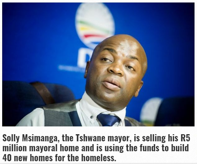 Tshwane Mayor is selling his home, using the funds to build 40 homes for the needy #GoodNewsMonday https://www.goodthingsguy.com/opinion/tshwane-mayor-sells-home/