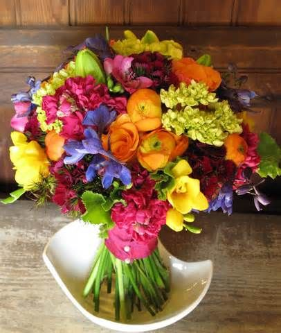 spring wedding bouquet - Vibrant mix of pinks, purples, golds, greens, reds--- freesia, peonies, hydrangea, stock