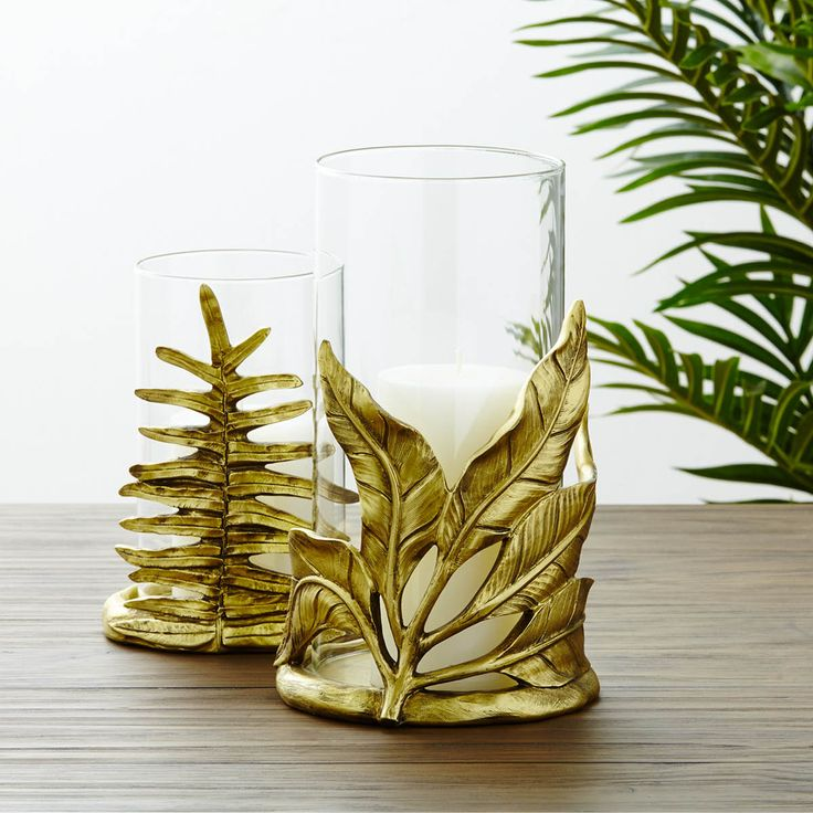 DAUPHIN LEAF CANDLE HOLDER BRASS - Natural elements candle holder from Urban Barn, Canada.