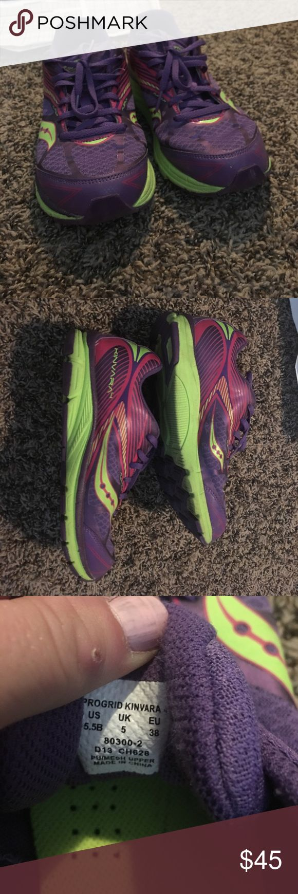 Saucony kinvara 4 running shoes Gently worn kinvara 4 running shoes. Equal to women's size 7.5. Wore for a single 5k (3 mile race) and didn't like how they felt me. Soles are still in excellent shape. Beautiful colors   Plenty of life left. Saucony Shoes Sneakers