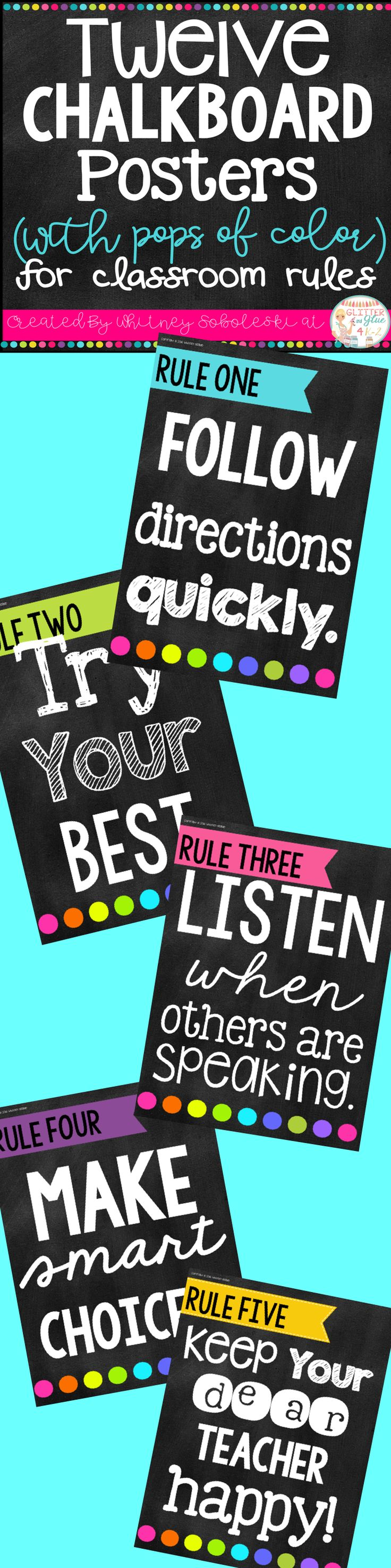Display your classroom rules with a chalkboard theme with fun pops of color! Included are twelve different classroom rules with a black chalkboard background, white and neon lettering, and fun designs! Keywords: classroom décor, classroom rules, chalkboard theme, chalk classroom, , classroom management, class rules, rule posters, bright classroom, neons, neon classroom, printables, back to school, classroom inspiration