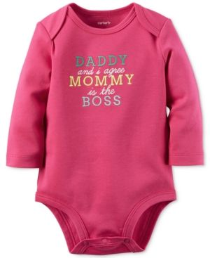 Carter's Baby Girls' Mommy Is The Boss Long-Sleeve Bodysuit - Pink 9 months