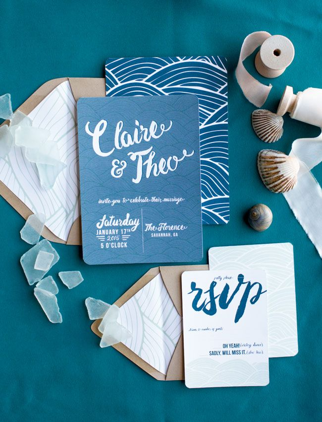 Calligraphy ocean invitation suite
