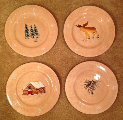 4pc Log Cabin Lodge Christmas Decor Moose Home Northwoods Lodge Salad Plates 8\  & 87 best Dishes images on Pinterest | Dish sets Christmas dishes ...