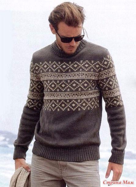 Мужской свитер с жаккардовым узором.  источник http://proxy.whoisaaronbrown.com/  Желаю всем легких петелек. Спасибо что зашли.