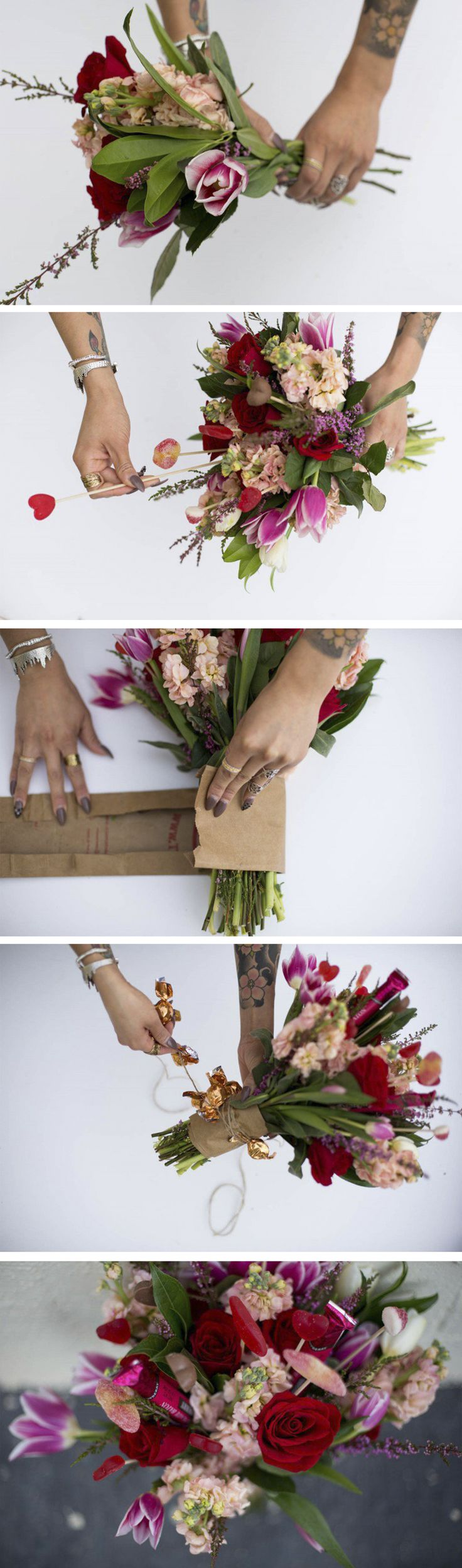 Grocery Store DIY: Valentine's Bouquet | We took the obvious grabs from the grocery store (red roses, some tulips, and a couple candies and truffles) and DIY-ed them into an arrangement perfect for any romantic occasion!