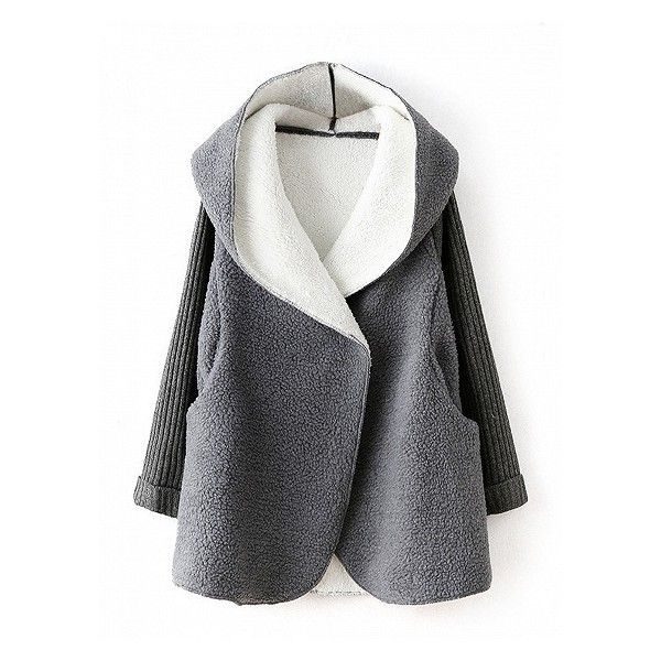 Choies Gray knitted Sleeve Faux Fur Hooded Coat (435 SEK) ❤ liked on Polyvore featuring outerwear, coats, leather-sleeve coats, gray coat, grey coat and faux fur hood coat