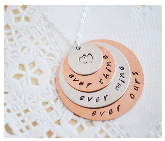 Couple Necklace  Ever Thine Ever Mine Ever Ours by hersilverlining, $42.00
