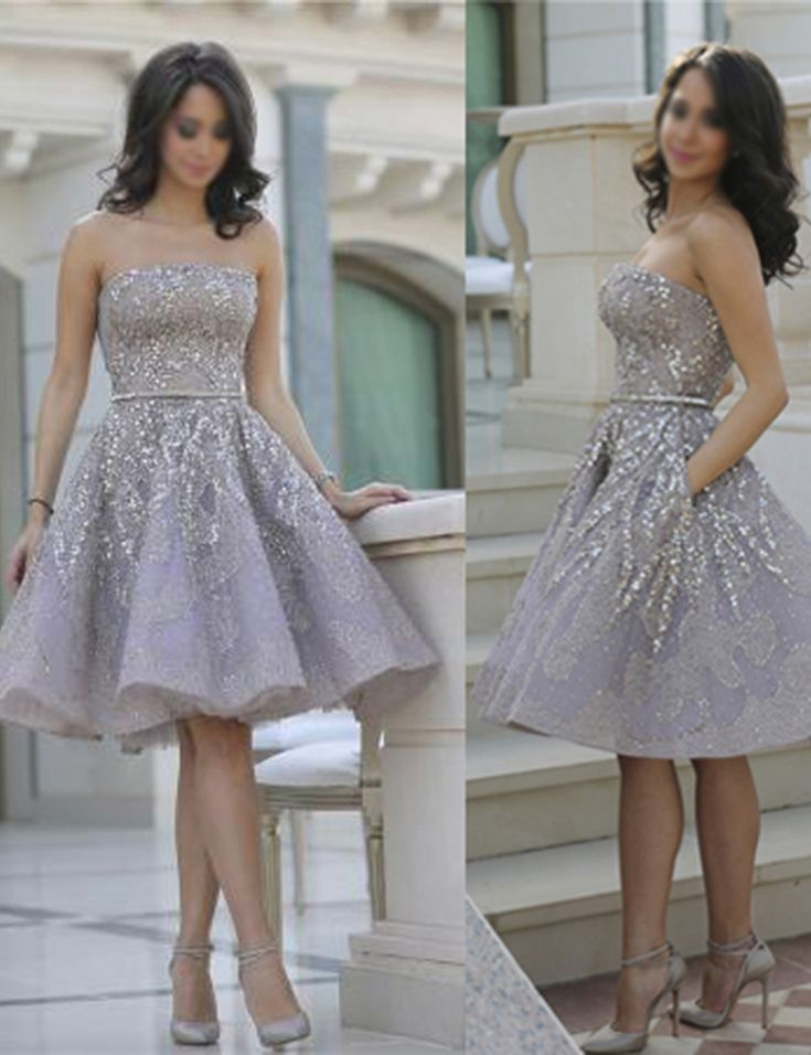 Hot Selling Strapless Knee-Length Lavender Organza Homecoming Dress with Beading Sash Pockets