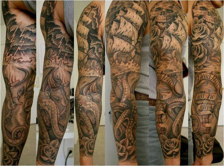 Tattoo Bildergebnis F R Ocean Sleeve Tattoo Black And White Click To See More Ocean Sleeve Tattoos Sleeve Tattoos Pirate Tattoo