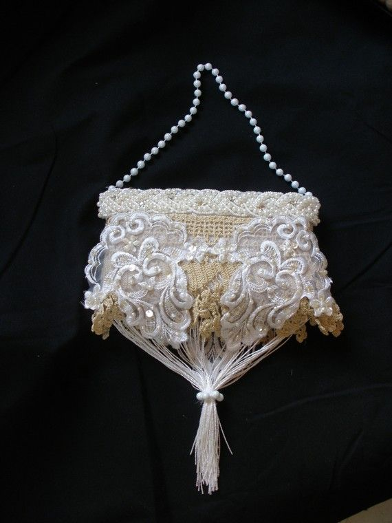 Third Ivory Wedding Purse with Vintage Lace by ShatteredPrincess