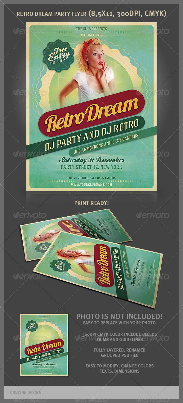 8 best retro images on Pinterest Flyer design, Party flyer and - retro flyer template