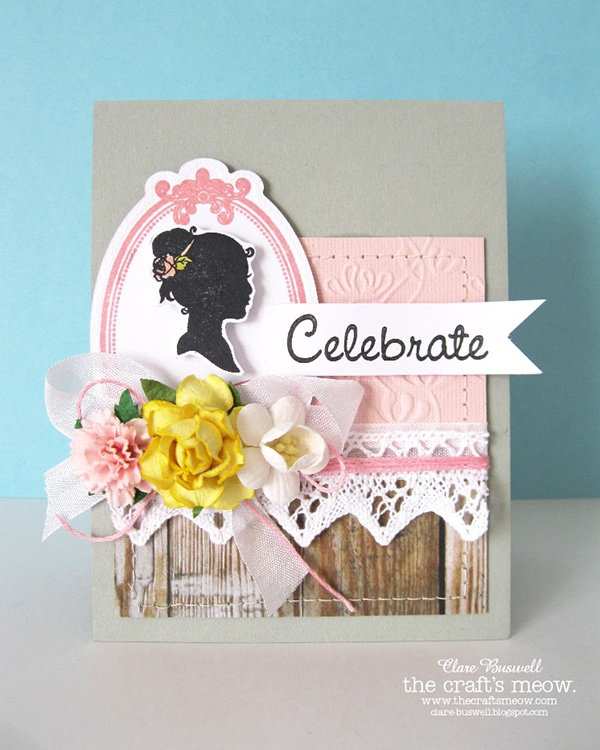 Clare's creations - Stamps used from The Craft's Meow - Sweet Silhouettes, Sweet Birthday.