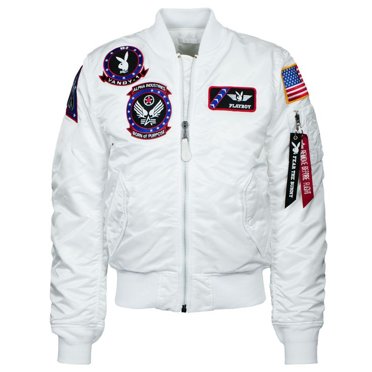 - Description - Size Chart - Playboy collaborated with Alpha Industries to design a limited edition Vandy MA-1 Flight Jacket. The patched bomber pays tribute to the U.S. Navy's Air Test and Evaluation