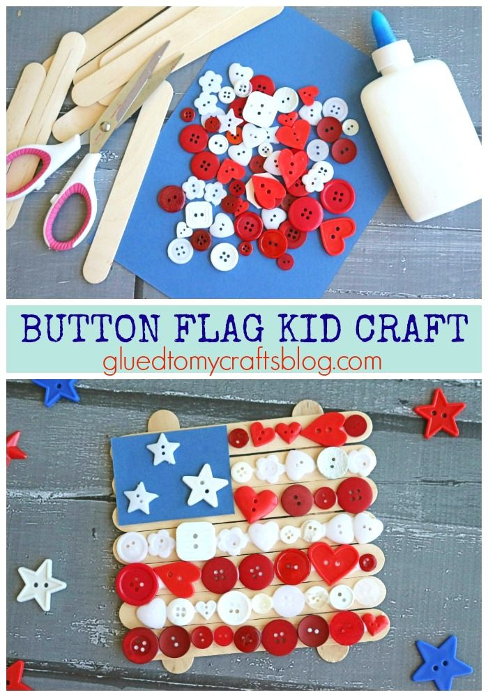 Popsicle Stick Button Flag Patriotic Kid Craft Glued To My