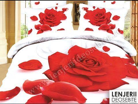 Lenjerie de pat cu trandafiri rosii A-8266 Cumparati aceasta lenjerie de pat intrand aici http://www.lenjeriidepatdeosebite.ro