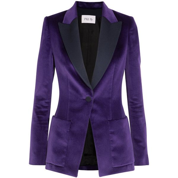 Pallas Satin-trimmed cotton-velvet blazer ($1,880) ❤ liked on Polyvore featuring outerwear, jackets, blazers, purple, purple blazer jacket, petite blazer, purple jacket, petite blazer jackets and tailored blazer