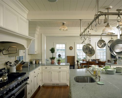 love this: Pots Racks, Kitchens Design, Dreams Kitchens, Open Spaces, Kitchens Soffit, House, Design Kitchens, Hanging Pots, White Kitchens