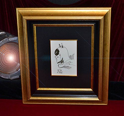"Signed BATMAN Original BOB KANE Art, AUTOGRAPH, Gotham, Museum FRAME, UACC, National Fine art Certified, COA  *Original ink SKETCH drawing of ""BATMAN"" by its Creator and Artist, BOB KANE and signed by Kane  Beautifully & Professionally matted in a large gold Frame & inner black Frame with Black Linen matte and 2 gold Fillets under UV acrylite glass, Acid Free with engraved description plaque  Original RARE Batman Artwork is in excellent condition, black ink is boldly drawn, no fading, ..."