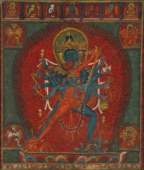 Chakrasamvara and Vajravarahi..Thiis depiction of the twelve-armed Chakrasamvara embracing his consort Vajravarahi depicts  charged vision tantric master. The blue figure Chakrasamvara has additional heads in yellow, green, and red . .This Nepalese paintings to evok Chakrasamvara is associated with both Heruka and Hevajra,. Such concordance of Buddhist and Hindu iconography ihas its origins in tantrism of medieval eastern India