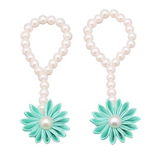 499141459 FEITONG 2016 Trendy 1Pair Fashion Beautiful Pearl Chiffon Barefoot Toddler  Baby Foot Flower Anklet â…¡ (Mint Green) Review