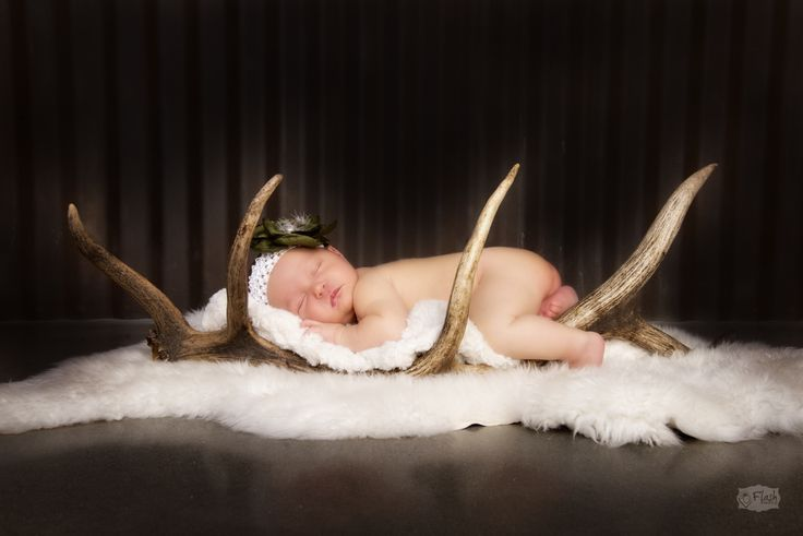 I am absolutely in awe of this photograph the lighting and the incorporation of the antlers is beautiful!! Tip: To make your photos more personal bring some props from home that show whats important to your family! #baby #photography #newborn #elk #hunting #beautiful