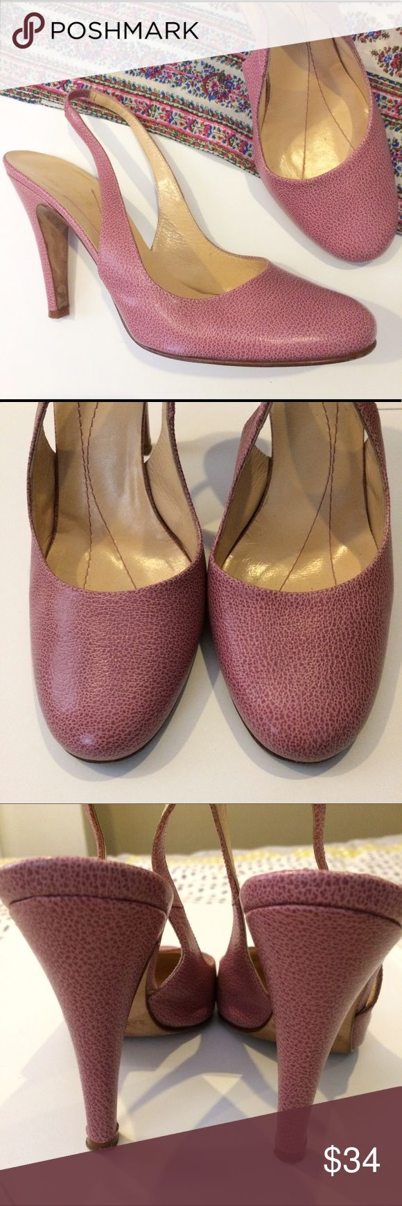 Kate Spade Pebbled Leather Slingback Heels Dusty rose colored heels in gently used condition. The bottoms show some wear, but otherwise still look great! Elastic at the back make these comfortable on the heels. kate spade Shoes Heels