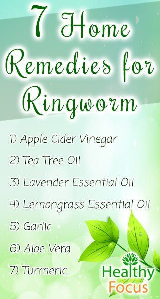 Home Remedies for Ringworm include Apple Cider Vinegar, Tea Tree Oil, Garlic, Lavender Oil, Lemongrass, Aloe Vera, and Turmeric.