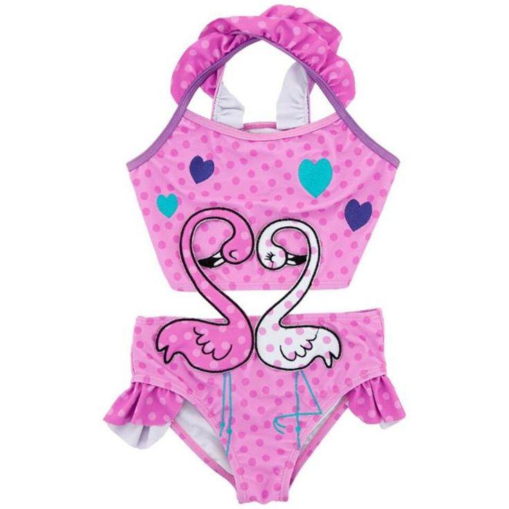 Babybadeanzug 2019 Neu 2-6 Jahre Kinder Einteiler Badeanzug Badebekleidungsbaby-Punkt-nette Badebekleidung der Overallkinder