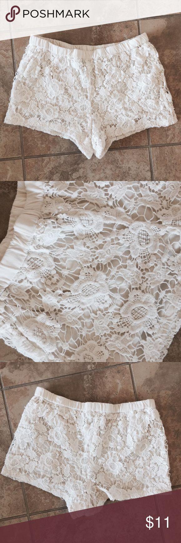 WHITE lace shorts Elastic waist, white lace shorts Shorts