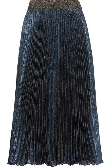 Christopher Kane - Pleated Silk-blend Lamé Midi Skirt - Storm blue - IT