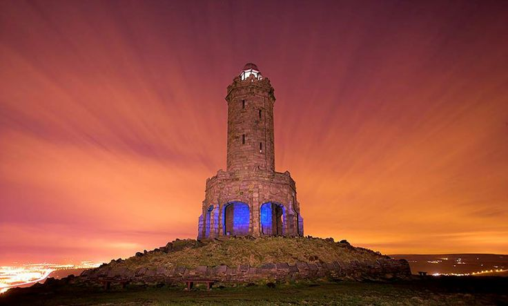 The octagonal Jubilee Tower (generally called Darwen Tower) at grid reference on Darwen Hill overlooking the town of Darwen in Lancashire, England, was completed in 1898 to commemorate Queen Victoria's Diamond Jubilee and also to celebrate the victory of the local people for the right to access the moor.
