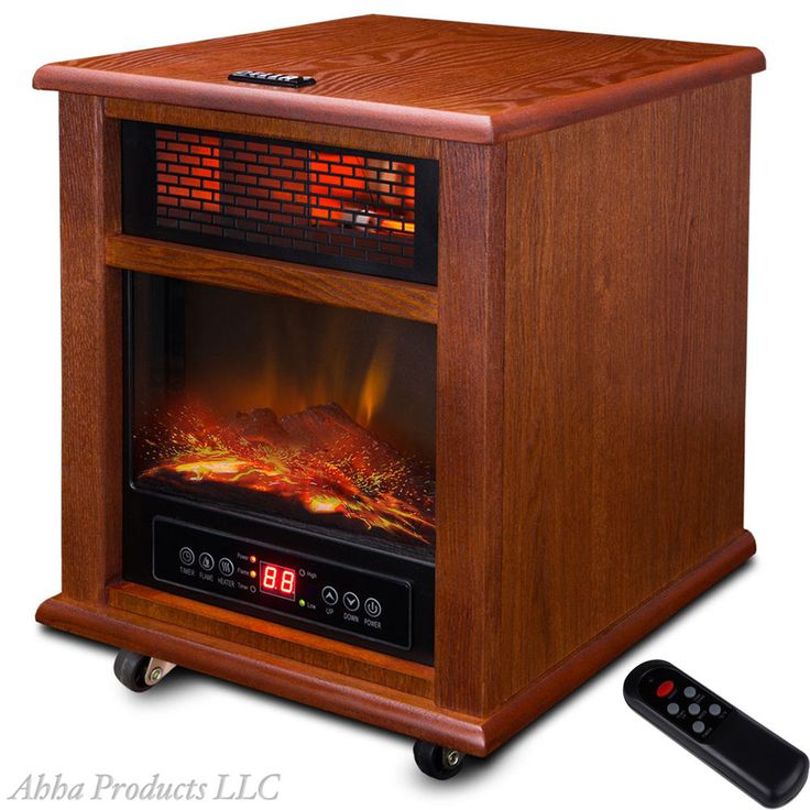 Wood Mantel Portable 1500W Electric Quartz Fireplace Space Heater With  Remote #Unbranded
