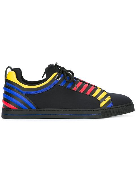 Shop Fendi primary colour stripe trainers.