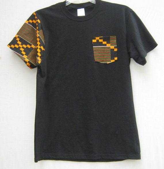 African Print  Pocket Tee T shirt African Print Tribal by Shipella